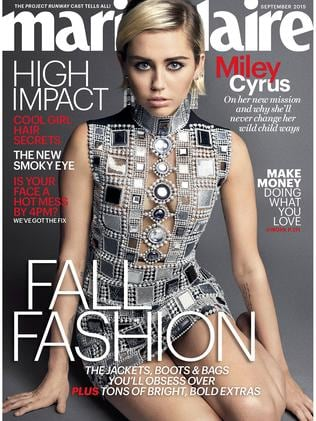 Miley Cyrus on the cover of Marie Claire's September issue.