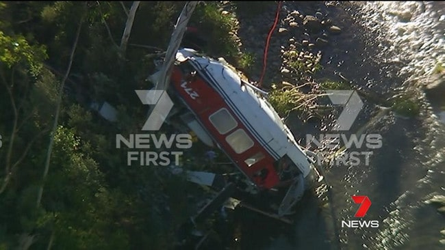 Exclusive footage reveals the state the helicopter was in after it crashed. Picture: Seven News