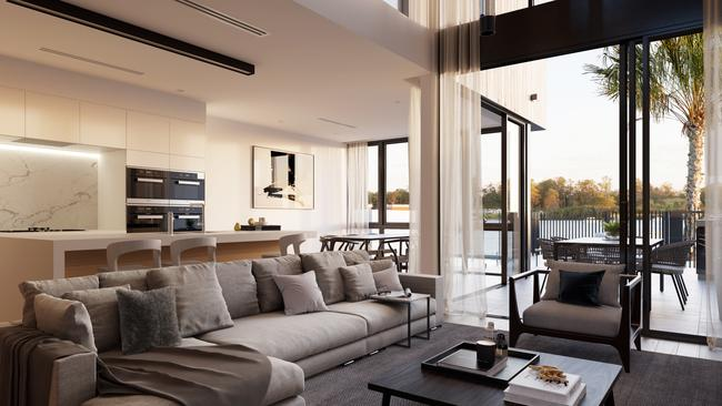 The open-plan living space in one of the River Homes at Hamilton Reach.