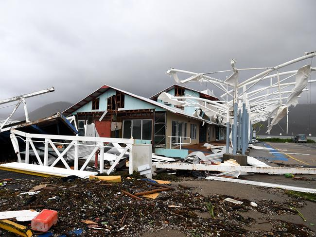 Severe damage to a boat terminal is seen at Shute Harbour, Airlie Beach. Picture: Dan Peled/AAP