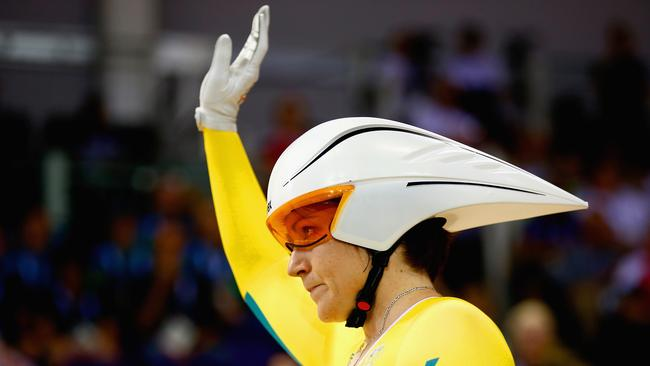 Anna Meares salutes the crowd before winning gold in the 500m time trial.