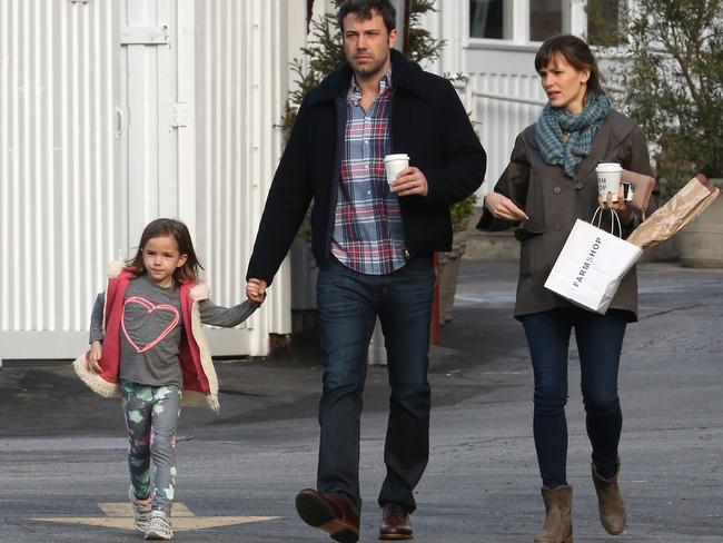 Family ... Ben Affleck and Jennifer Garner leave the Brentwood Country Mart in LA with their daughter, Seraphina Affleck on February 06, 2014. Picture: Bauer-Griffin/GC Images