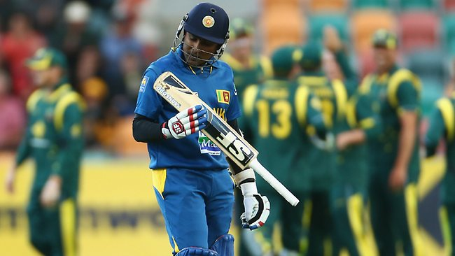 Mahela Jayawardene walks from the ground after he was caught out for 38. Picture: Robert Cianflone