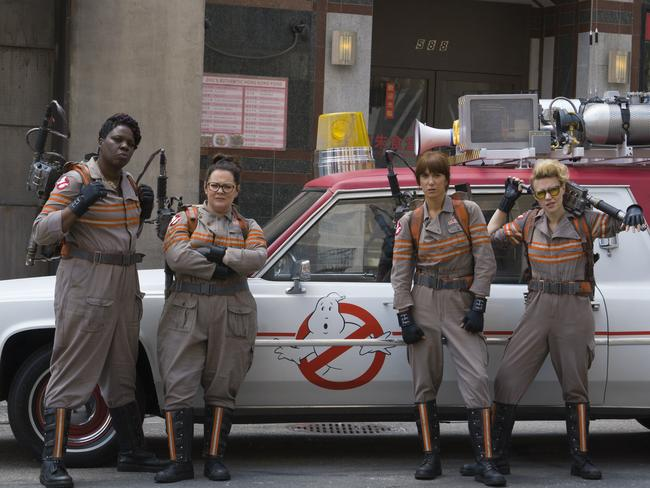 Ladies do it better ... Jones, McCarthy, Wiig and McKinnon in Ghostbusters.