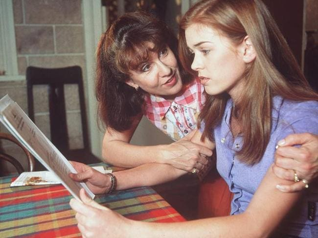 Isla Fisher's character Shannon is comforted by Pippa (Debra Lawrence) in  <i>Home and Away</i>. Picture: Herald Sun