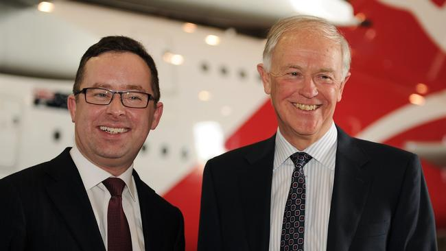 Tim Clark with Qantas chief Alan Joyce in Sydney last year.