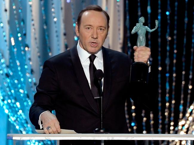 Kevin Spacey accepts the Outstanding Performance by a Male Actor in a Drama Series for 'House of Cards'. Picture: Kevork Djansezian/Getty Images