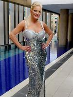 Brynne Edelsten in her glamorous gown at The Olsen Hotel in South Yarra. Picture: Ian Currie