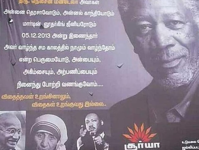 The Indian billboard which accidentally used a picture of Morgan Freeman instead of Nelson Mandela.