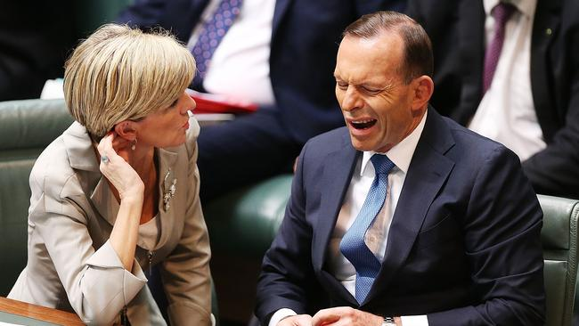 Last day ... Foreign Minister Julie Bishop with Prime Minister Tony Abbott during Question Time. Picture: Stefan Postles/Getty Images