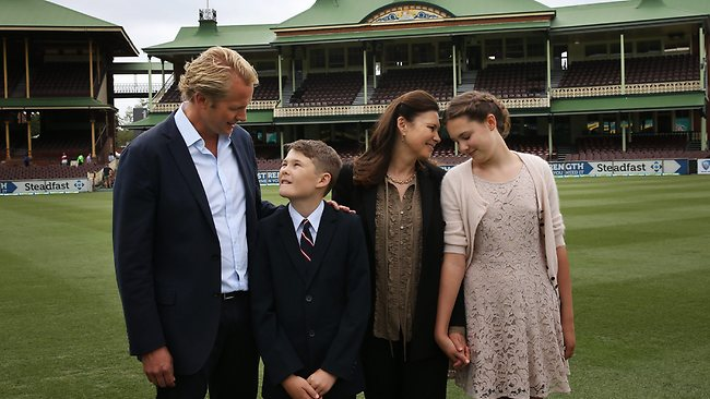 Tony Greig's sons Mark and Tom with wife Vivian and daughter Beau at the SCG. Picture: Phil Hillyard