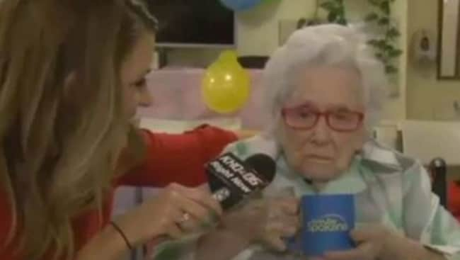 Not impressed ... 110-year-old Flossie Dickey gave reporter Nicole Mischke nothing live on-air. Picture: YouTube