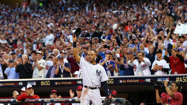Derek Jeter #2 of the New York Yankees acknowledges the crowd after being pulled in the fourth inning.
