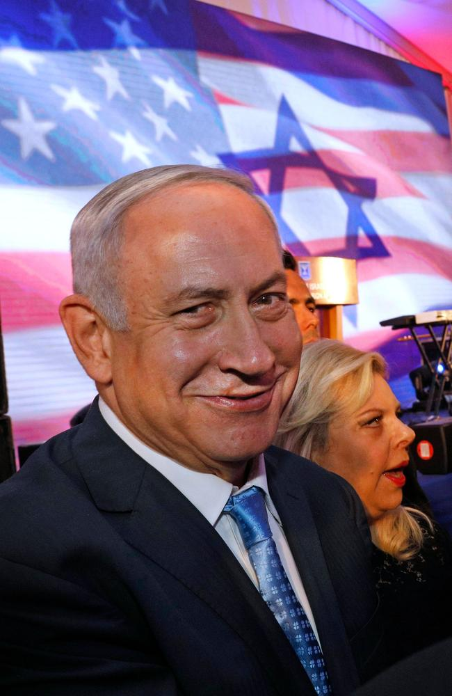 Israeli Prime Minister Benjamin Netanyahu and his wife Sarah attend an official reception for Ivanka Trump and her husband Jared Kushner. Picture: AFP