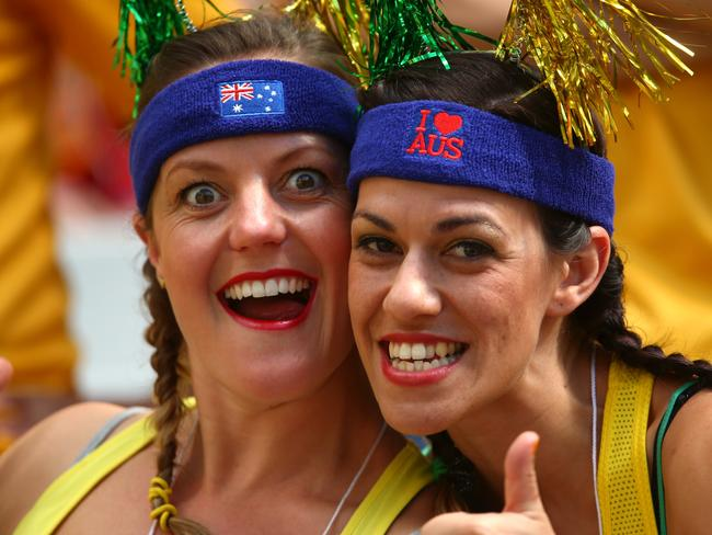 Australia fans enjoy the atmosphere prior to the 2014 FIFA World Cup Brazil Group B match between Australia and Spain at Arena da Baixada.