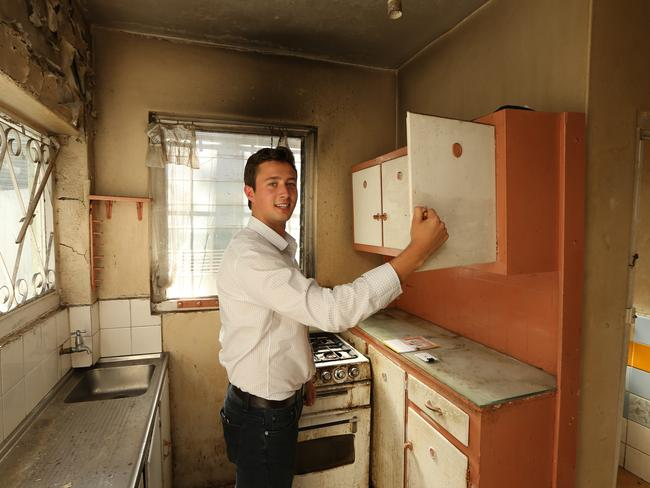Builder Luke Hickel at 141 Womerah Ave, Darlinghurst which he said could be 'fun' to rebuild. Picture: Tim Hunter.