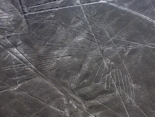 An aerial view of the condor geoglyph in the Nazca desert, in southern Peru. Picture: AP/Rodrigo Abd