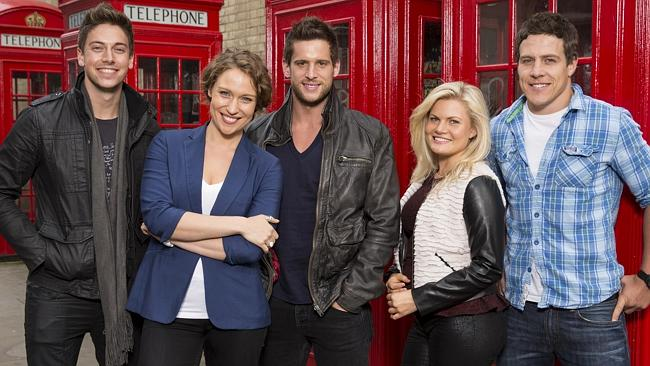 Home and Away. London. 2013. Lincoln Younes, Lisa Gormley, Dan Ewing, Bonnie Sveen, Steve Peacocke. 2014. Seven, Prime7.