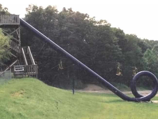 Infamous ... a water slide with a full vertical loop was open for just a month before knocking around too many kids and shutting down for good. Picture: 'The Most Insane Amusement Park Ever'