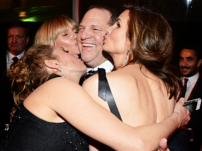 Harvey Weinstein with female celebs at the GOlden Globes After Party in 2014. Photo: Araya Diaz/Getty
