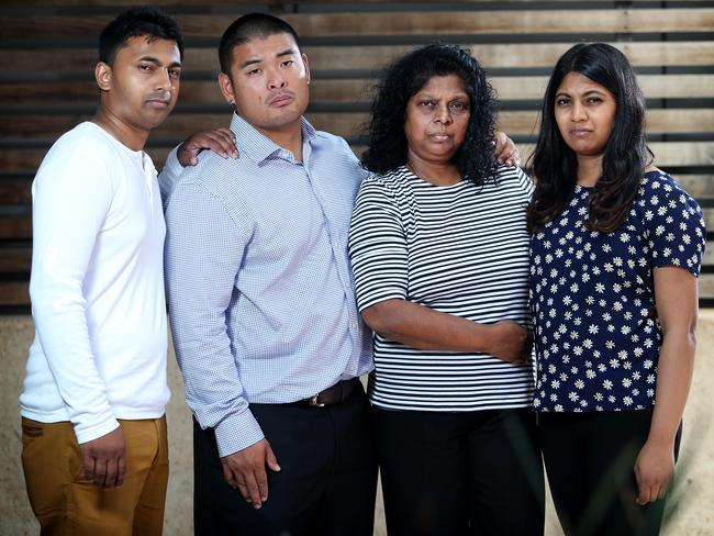 Chintu Sukumaran, Michael Chan, Raji Sukumaran and Brintha Sukumaran at a press conference at the ABC. Picture: Richard Dobson
