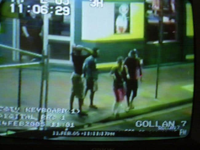 Simone Strobel (second right) and Tobias Suckfuell (right) leave Lismore's Gollan Hotel with fellow travellers the night she vanished. Picture: Northern Star