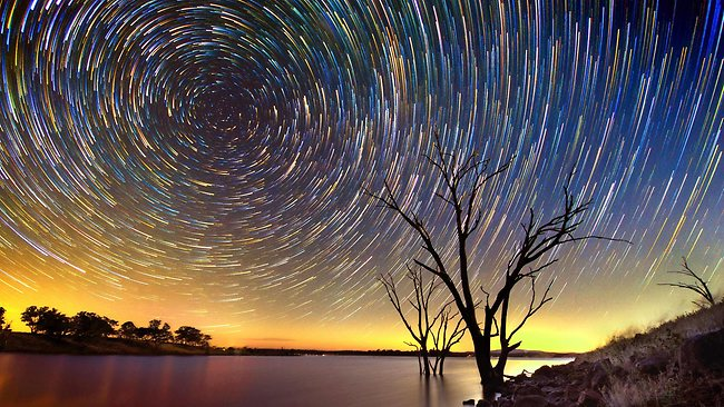 Amazing star trails over the Australian outback captured by Bendigo amateur photographer Lincoln Harrison, who spends hours shooting the night sky armed with an array of lenses. Credit: Picture Media.