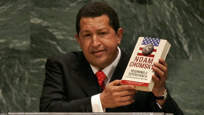 Venezuelan President Hugo Chavez holds a Spanish language version of the book 'Hegemony or Survival: America's Quest for Global Dominance' by Noam Chomsky while addressing the 61st session of the United Nations General Assembly at UN Headquarters in New York in 2006.