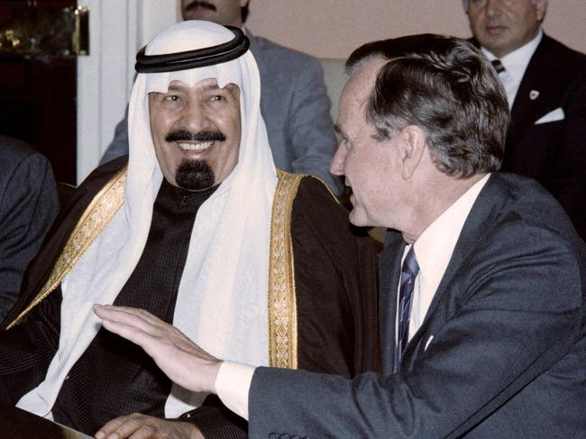 A picture from October 20, 1987, in Washington shows then Crown Prince Abdullah bin Abdul Aziz of Saudi Arabia listening to then US president George Bush. Picture: AFP/Chris Wilkins
