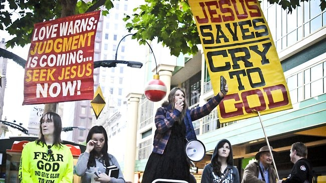 Rundle Mall street preachers and protestors. Picture: Noelle Bobrige