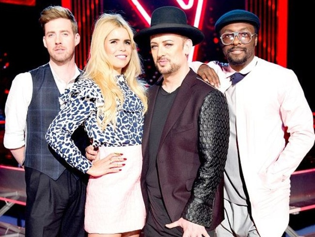 The Voice coaches ... Ricky Wilson, Paloma Faith, Boy George and Will.i.am in The Voice UK. Picture: Supplied