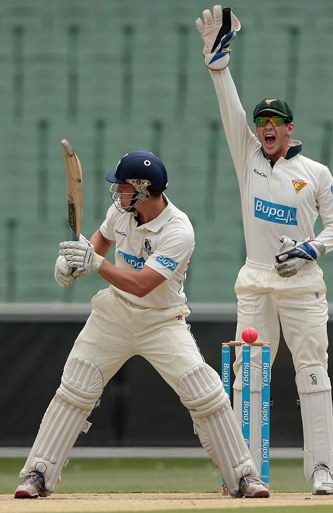 Tim Paine successfully appeals for the wicket of Dean Russ.