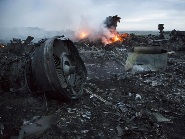 Debris at the crash site of MH17 near the village of Hrabove, Ukraine. Picture: AP