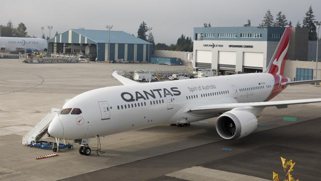 A new 787-9 Dreamliner sitting on the tarmac in Seattle.