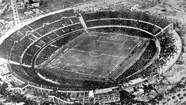 July 30, 1930, an aerial view of the Centenario stadium in Montevideo, Uruguay.