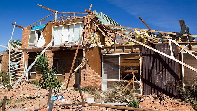 The remains of a house in Bundalong following storms in the state's northeast. Picture: Scott Chris
