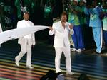 Ian Thorpe takes part in the flag ceremony at the Glasgow Opening Ceremony at Celtic Park. Picture: Adam Head
