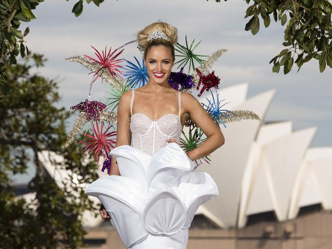 Miss Universe Australia Olivia Rogers unveils the National Costume she will wear when she represents Australia. Picture: Justin Lloyd.