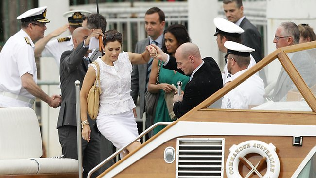 Princess Mary boards a boat for a harbour cruise yesterday. Picture: Getty