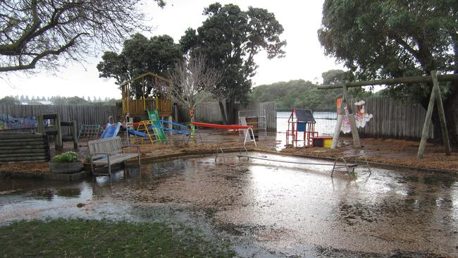 Flooding at Warrnambool South Kindergarten led to the evacuation of children this afternoon. Picture: Supplied