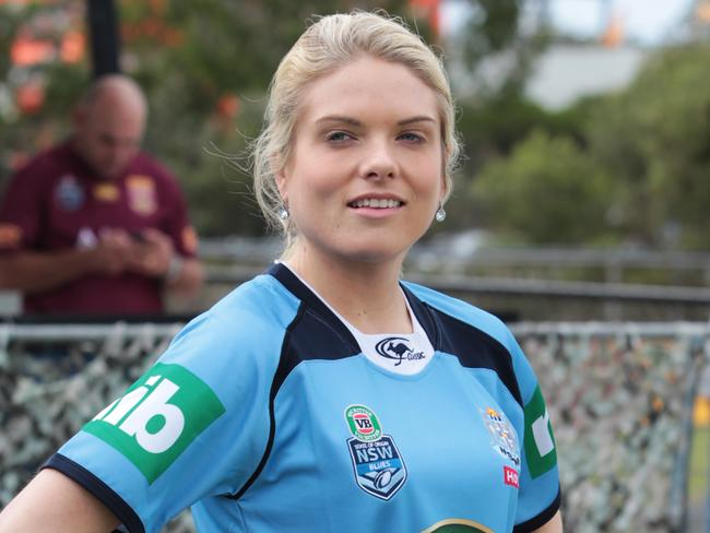 Erin Molan during a bungy jumping stunt for The Footy Show filmed at Kingston Park Raceway.