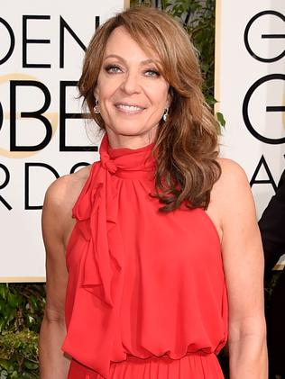 Striking red ... actress Allison Janney arrives. Picture: Getty Images