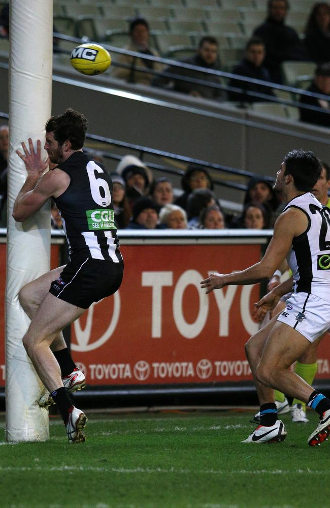 Power star Chad Wingard could come under scrutiny for pushing Tyson Goldsack into the point post. Picture: George Salpigtidis