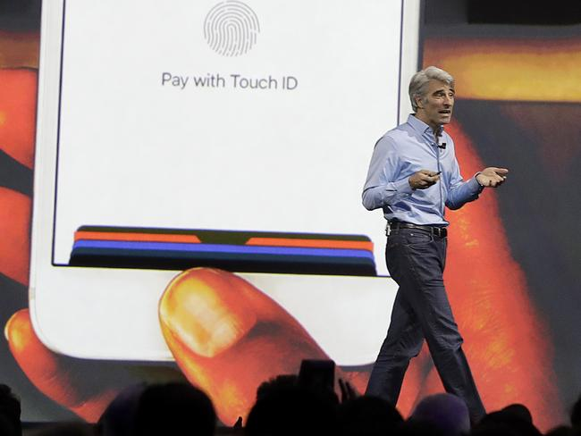Mr Federighi said there will be major changes to Apple Pay. Picture: Marcio Jose Sanchez/AP