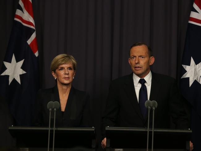Foreign Affairs Minister Julie Bishop and Prime Minsiter Tony Abbott announce they were recalling the Australian ambassador to Indonesia.