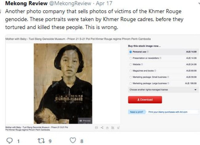Mekong Review Twitter post about the sale prices and marketing of this Khmer Rouge's victim's image taken before her murder.