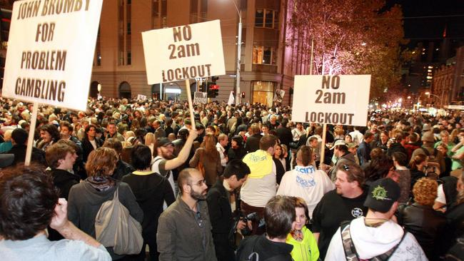 The Melbourne lockouts trail was abandoned after three months after protests and doubts as to its effectiveness.