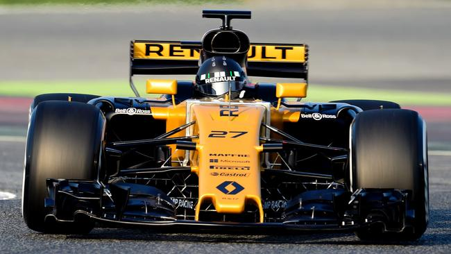 Renault Sport F1 Team's German driver Nico Hulkenberg drives at the Circuit de Catalunya.