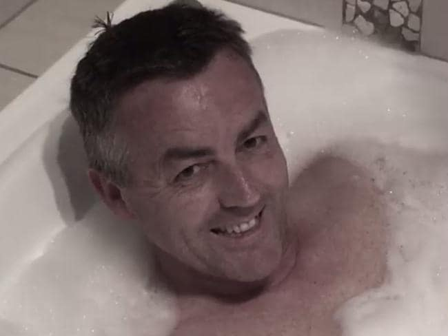 Darren Chester in a bubble bath ... for a good cause. Picture: Facebook
