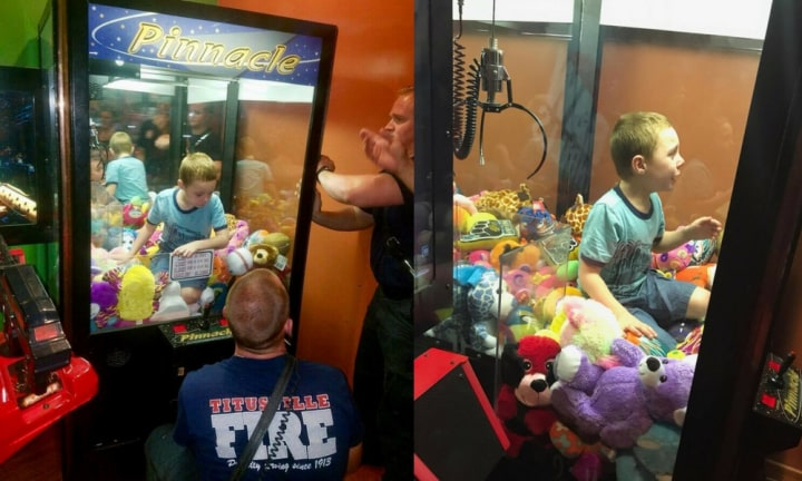 Video reveals mission to get determined and clever boy out of claw machine